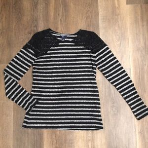 Gap   Striped Tee with Lace Detail
